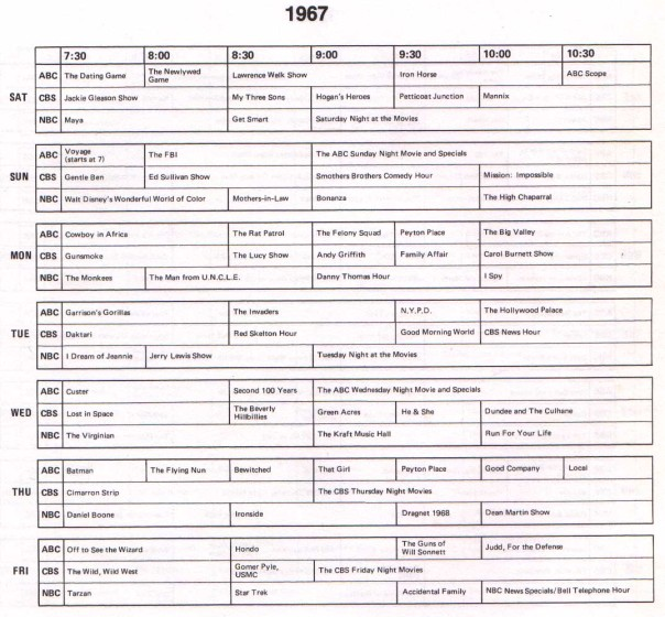 1967 TV Schedule