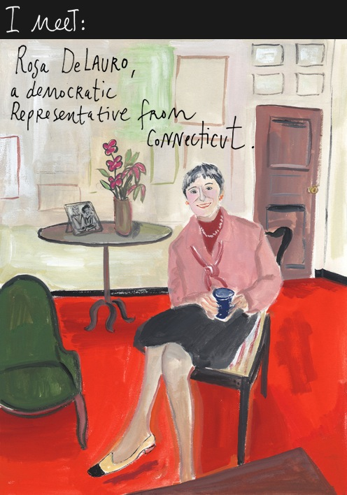 Painting of Rosa DeLauro - 10/20/09 - Maira Kalman/The New York Times