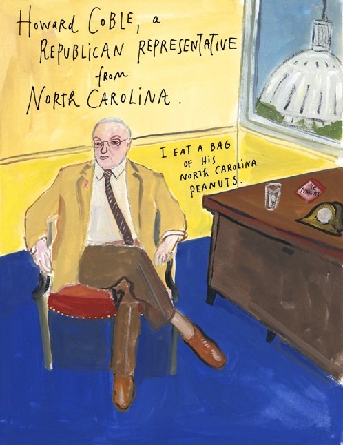 Painting of Howard Coble - 10/22/09 - Maira Kalman/The New York Times