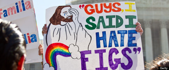 A supporter of gay marriage holds a sign during the DOMA and Proposition 8 hearing at the Supreme Court in March 2013