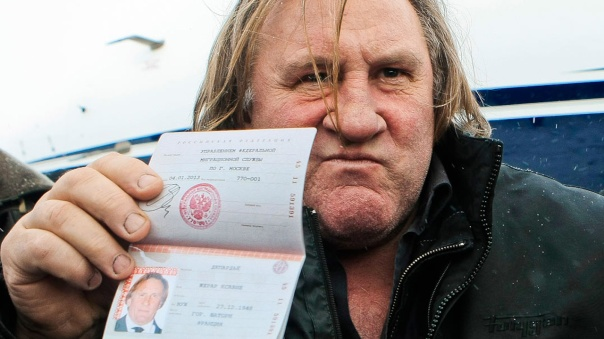 Gérard Depardieu with his Russian Passport