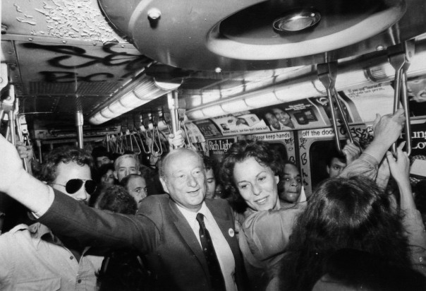Mayor Ed Koch and Senatorial candidate Bess Myerson campaigning on the subway in September 1980 - Mary DiBiase/NY Daily News Archive via Getty Images